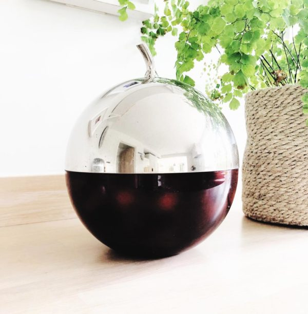 1970's chrome plated apple ice bucket by Freddotherm, Switzerland