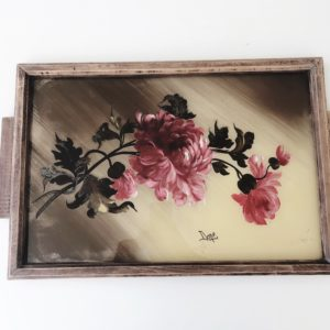 1950s French tray with hand painted flowers on glass