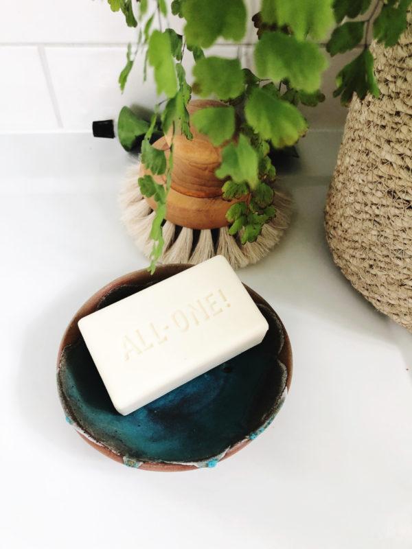 handmade pottery soap dish with teal & dark blue glaze