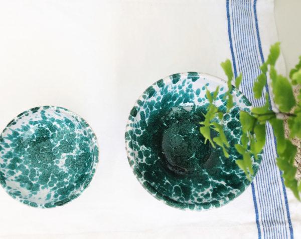 small green Italian handmade splatterware dipping bowl