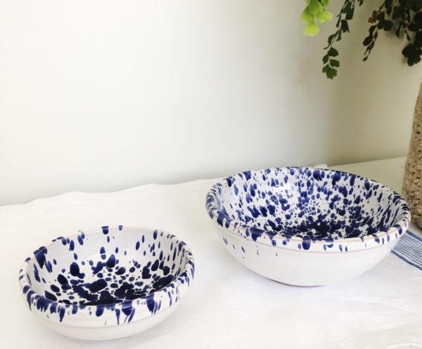 medium blue handmade Italian splatterware dipping bowl