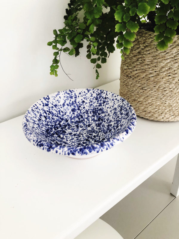 Blue handmade Italian splatterware lipped bowl