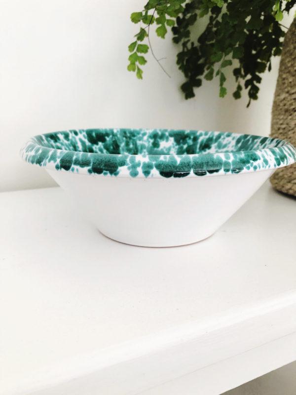 Green lipped handmade Italian splatterware bowl