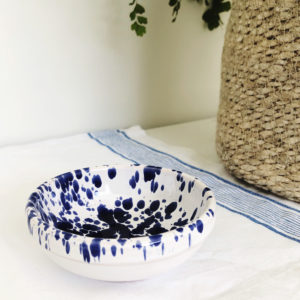 Small blue handmade Italian splatterware dipping bowl