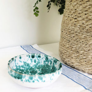 Small green Italian splatterware dipping bowl