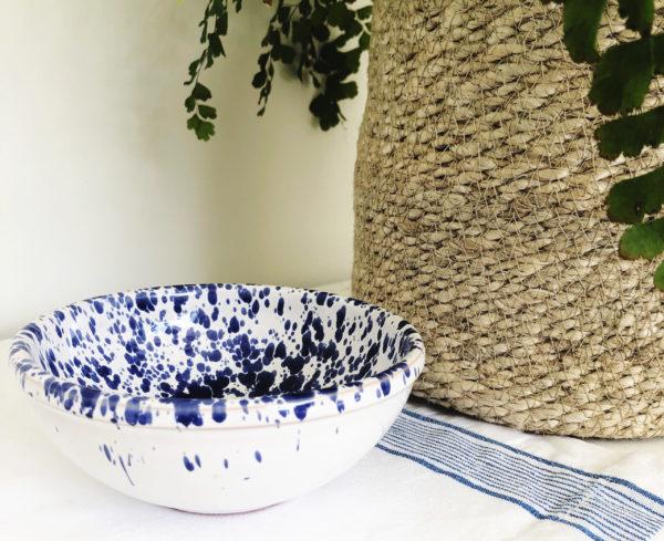Blue handmade medium Italian splatterware dipping bowl