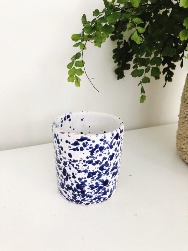 Blue handmade Italian ceramic splatterware beaker
