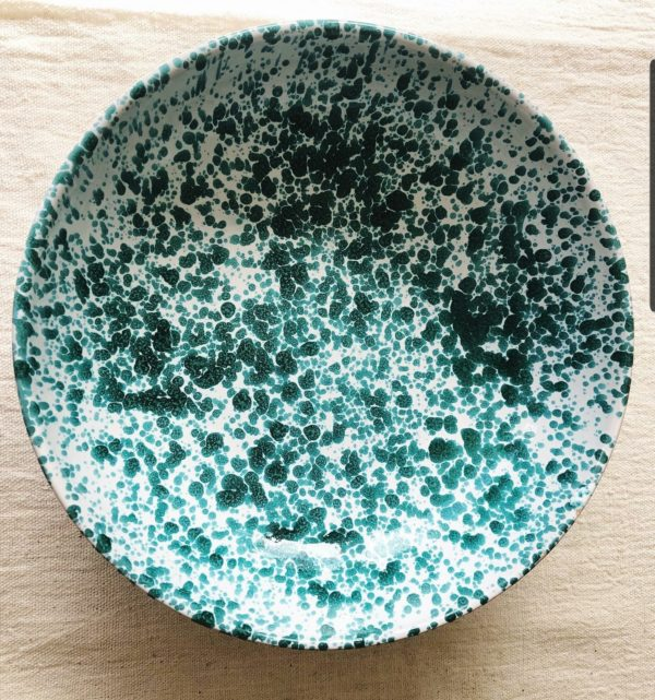 Beautiful large 26.5cm diameter blue Italian splatterware bowl handmade in Puglia, Italy. Perfect for salads, puddings or as a serving dish. Practical too, as it is microwave and dishwasher safe.