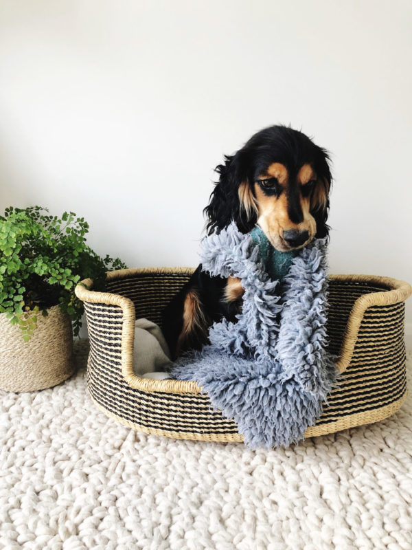 handmade woven dog bed in navy and natural colourway small
