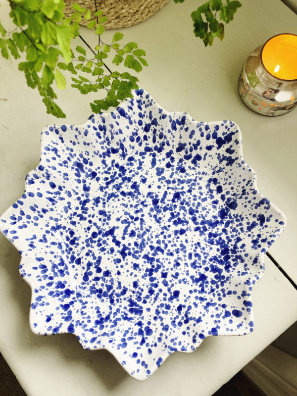 Handmade blue Italian ceramic splatterware star dish
