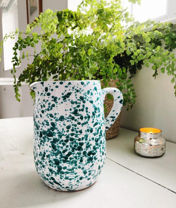green italian splatterware half litre jug