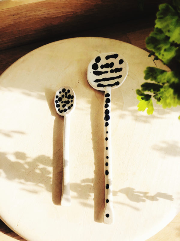 Large handmade pottery spoon with dots design