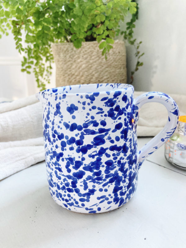 Blue Italian splatterware ceramic 1/4 litre jug