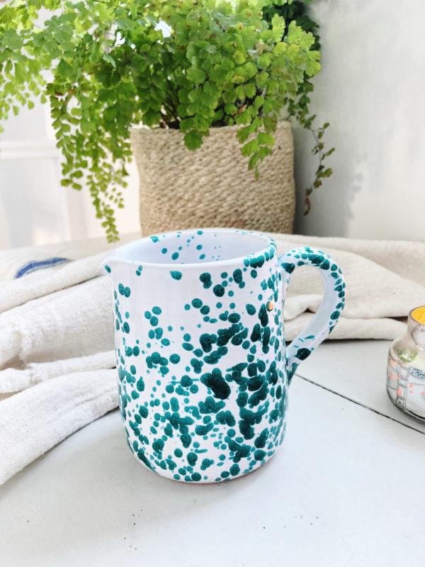 Italian splatterware green ceramic handmade small straight sided jug