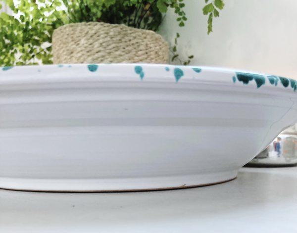 Handmade ceramic Italian green splatterware large shallow serving platter
