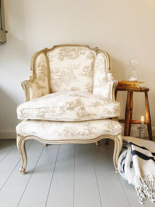 French vintage Louis XV gondole chair