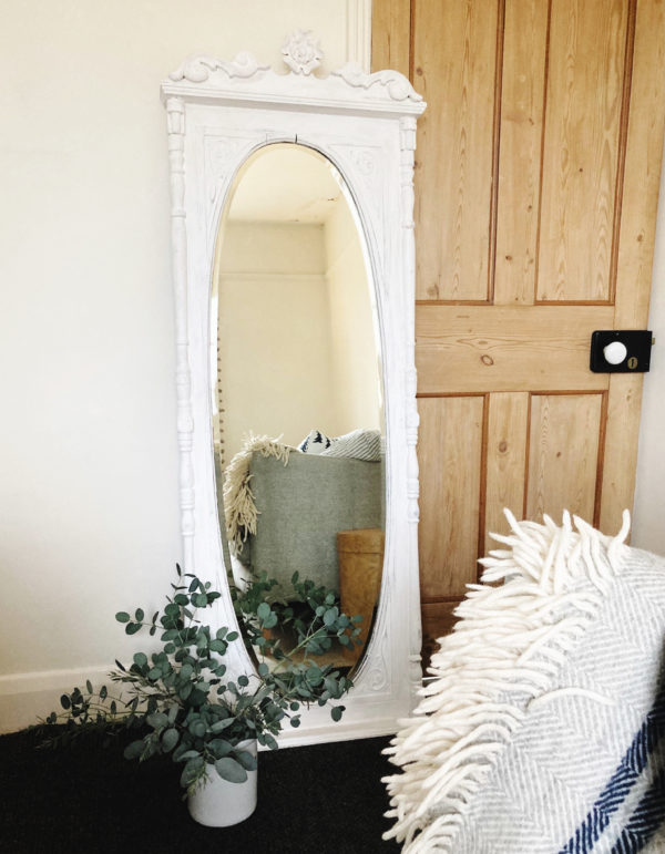 antique long white painted mirror with decorative moulding