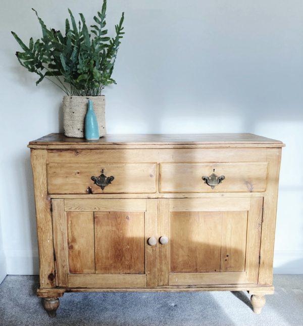 Victorian pine cabinet 2 drawer 2 door