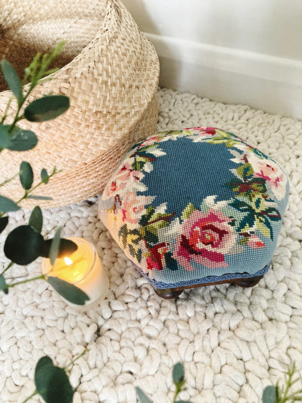 Antique Victorian hexagonal footstool with blue needlepoint cover