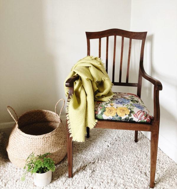 edwardian mahogany open armchair newly upholstered seat