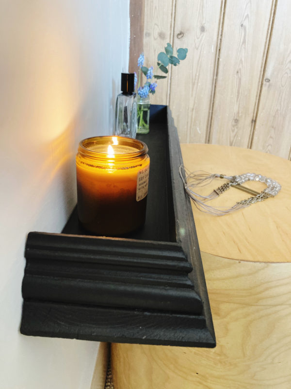 Vintage wall shelf painted in Farrow & Ball Off Black