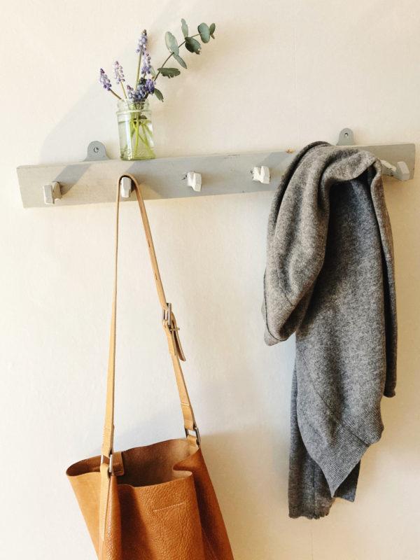 light grey painted vintage wall hooks