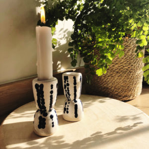Pair handmade pottery candle holders with navy dotty stripes