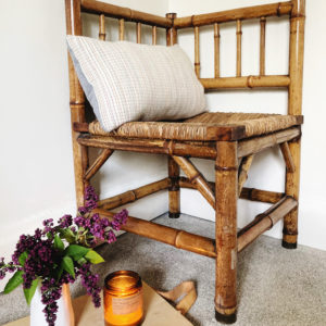vintage bamboo corner chair woven rush seat