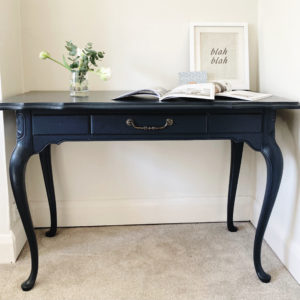 French style desk or occasional table painted deep blue