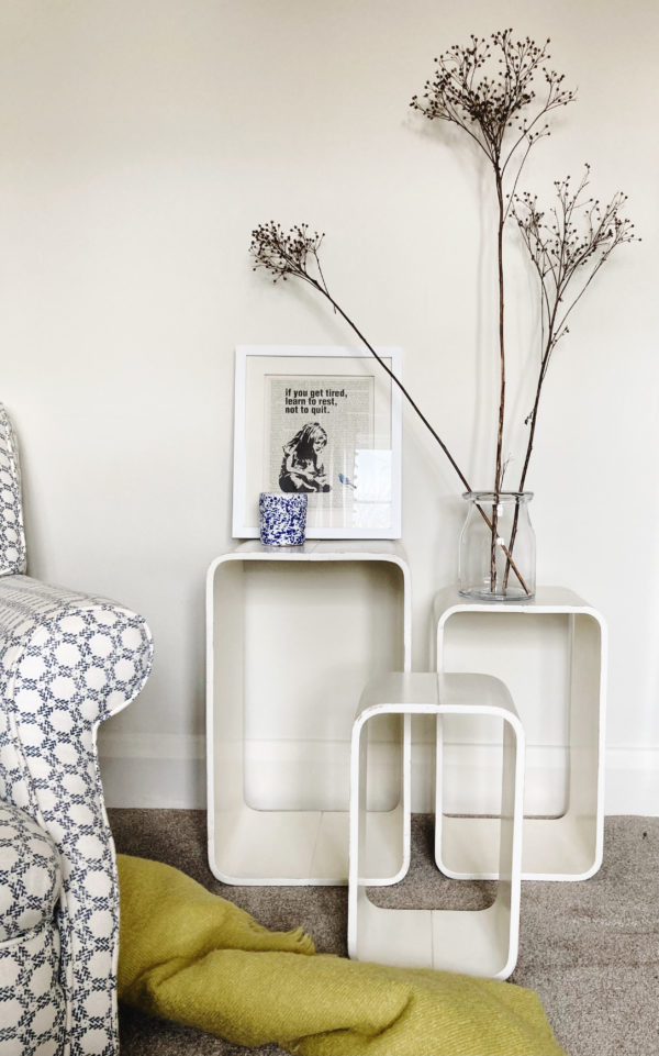 1960s rectangular vintage white nest of tables