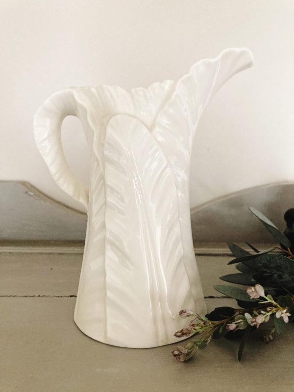 Royal Worcester 1896 white leaf porcelain jug